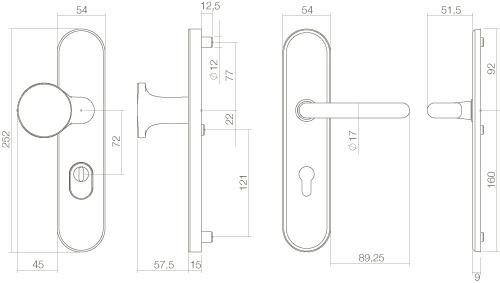 Intersteel Sicherheitsbeschlag SKG3 oval mit Kernziehschutz und Profilzylinder-Lochung 72 mm Messing unlackiert - Vorschau 2