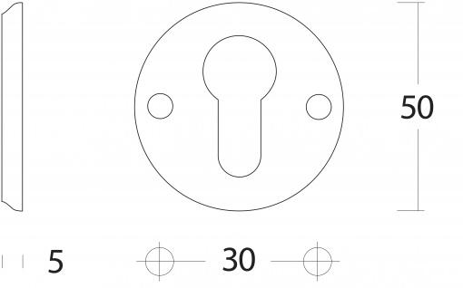 Intersteel PZ-Schutzrosette und Schraublöchern Messing lackiert - Vorschau 2