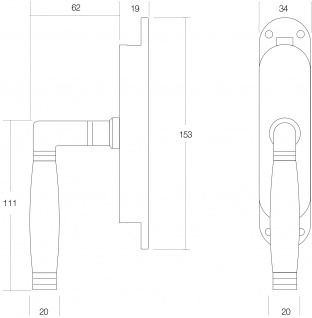 Intersteel Fenster-Stangenschloss Ton 222 rechts Nickel matt/Ebenholz - Vorschau 2