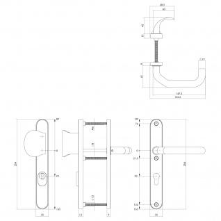 Intersteel Sicherheitsbeschlag SKG3 mit Profilzylinder-Lochung 92 mm verkröpft und Kernziehschutz Edelstahl gebürstet - Vorschau 2