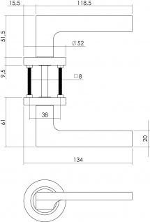 Intersteel Türklinke Ben Rosette mit Schlüsselloch Nickel matt - Vorschau 2