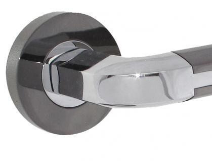 Türdrücker Türbeschlag Türklinke Türgriff mit Hochhaltefeder verchromt / schwarz verchromt - Vorschau 2