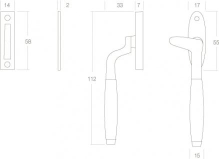 Intersteel Fensterverriegelung Dudok rechts Chrom/schwarzes Holz - Vorschau 2