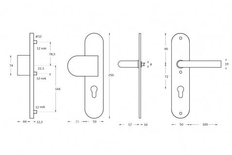 Intersteel Sicherheitsbeschlag SKG3 mit Profilzylinder-Lochung 72 mm oval Vordertürbeschlag massiver Edelstahl gebürstet - Vorschau 2