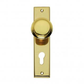 Intersteel Knauf auf rechteckigem Schild mit Profilzylinder-Lochung 72 mm Messing lackiert