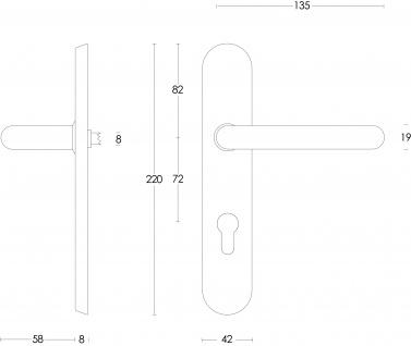 Intersteel Türklinke Rund verdeckt auf Schild mit Profilzylinder-Lochung 72 mm Edelstahl gebürstet - Vorschau 2