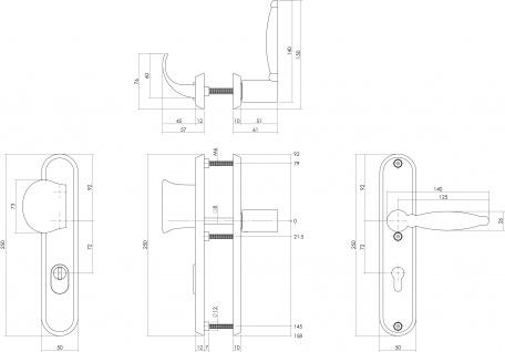 Intersteel Sicherheitsbeschlag SKG3 mit Profilzylinder-Lochung 72 mm Vordertürbeschlag Sliced no. 4 links Edelstahl gebürstet mit Kernziehschutz - Vorschau 2