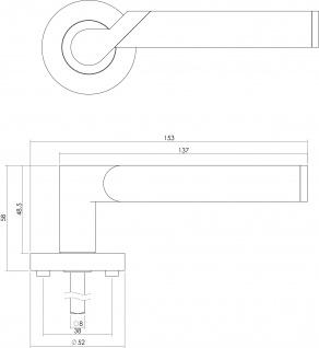 Intersteel Türklinke Casper auf runder Rosette mit Verriegelung Chrom - Vorschau 2