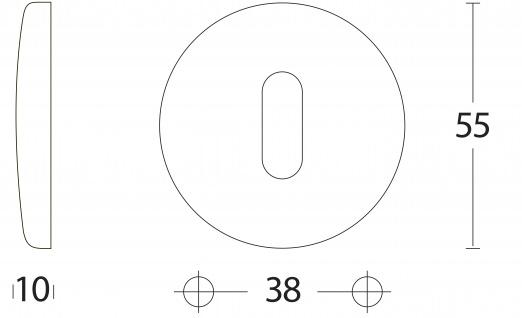 Intersteel Rosette Kugel gewölbt rund mit Schlüsselloch Chrom matt - Vorschau 2