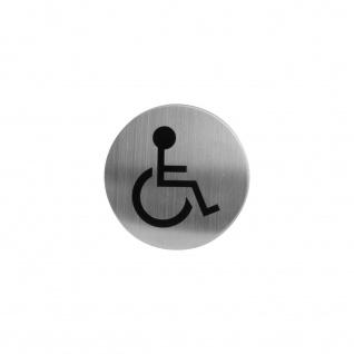 Intersteel Hinweisschilder Behindertentoilette Rund selbstklebend gebürsteter Edelstahl
