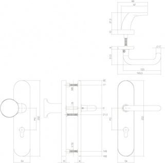 Intersteel Sicherheitsbeschlag SKG3 oval mit Profilzylinder-Lochung 72 mm Messing unlackiert - Vorschau 2