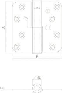 Intersteel Kugelstift-Türband DIN-links Edelstahl gebürstet - Vorschau 2