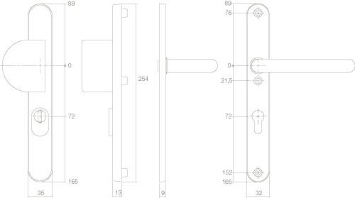 Intersteel Sicherheitsbeschlag SKG3 mit Profilzylinder-Lochung 92 mm und Kernziehschutz schmal oval Vordertürbeschlag Edelstahl gebürstet - Vorschau 2