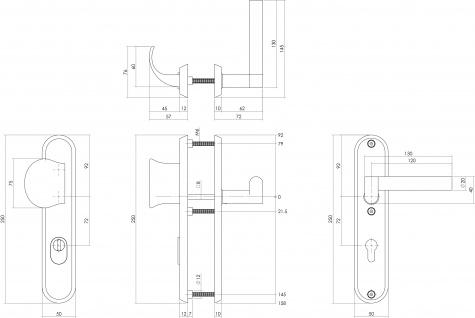 Intersteel Sicherheitsbeschlag SKG3 mit Profilzylinder-Lochung 72 mm und Kernziehschutz Vordertürbeschlag links Dock Solid Edelstahl gebürstet - Vorschau 2