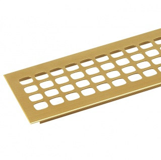 Lüftungsprofil Gold Quadratlochung Leichtmetall Gold eloxiert, Einbaufertig, Profilbreite 100 mm, 500 mm