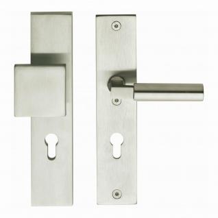 Intersteel Sicherheitsbeschlag SKG3 rechteckig mit Profilzylinder-Lochung 72 mm Nickel matt