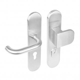 Intersteel Sicherheitsbeschlag SKG3 mit Profilzylinder-Lochung 72 mm und Kernziehschutz oval Vordertürbeschlag Edelstahl gebürstet