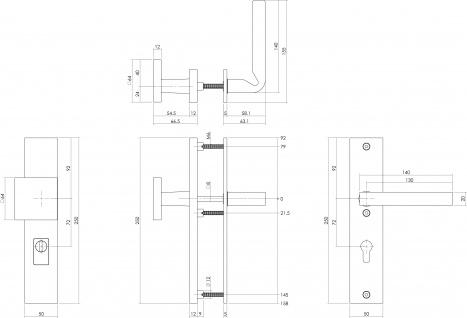Intersteel Sicherheitsbeschlag SKG3 mit Profilzylinder-Lochung 72 mm und Kernziehschutz Vordertürbeschlag Sliced no. 3 links Edelstahl gebürstet - Vorschau 2