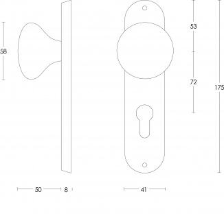 Intersteel Knauf Pilz auf Kurzschild mit Profilzylinder-Lochung 72 mm Edelstahl gebürstet - Vorschau 2