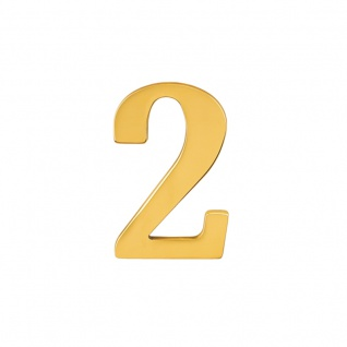 Hausnummern Messing poliert, Ziffer: 2 - Vorschau