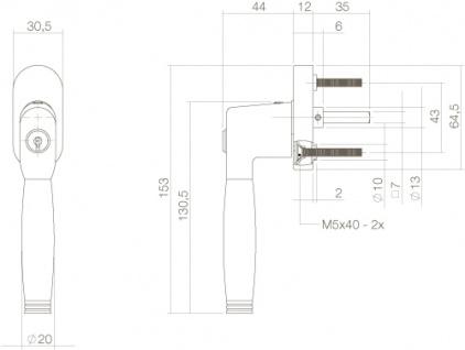 Intersteel Fenstergriff Ton 222 Chrom - Vorschau 2