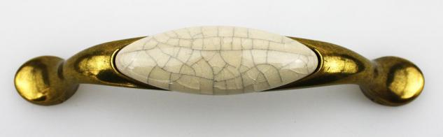 Möbelgriff Schubladengriff aus Metall mit Porzellaneinlage Lochabstand 96mm - Vorschau 2