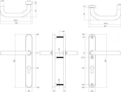 Intersteel Sicherheitsbeschlag SKG3 mit Profilzylinder-Lochung 92 mm und Schmalschild oval Hintertürbeschlag Edelstahl gebürstet - Vorschau 2