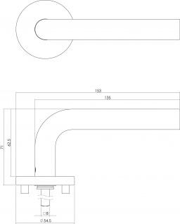 Intersteel Türklinke Gerade auf runder Rosette EN1906/4 mit Schlüsselloch gebürsteter Edelstahl - Vorschau 2