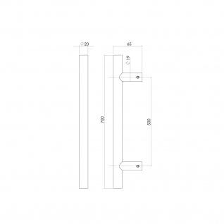 Intersteel Stoßgriff T-Form 700 x 20 x 65 mm gebürsteter Edelstahl - Vorschau 2