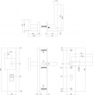 Intersteel Sicherheitsbeschlag SKG3 mit Profilzylinder-Lochung 92 mm Mattschwarz rechteckig Vordertürbeschlag mit Kernziehschutz - Vorschau 2