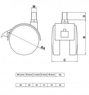 MS Beschläge® Möbelrolle Hartbodenrolle aus Kunststoff mit Bremse und Gewinde - Vorschau 4