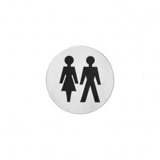Intersteel Piktogramm Damen- und Herrentoilette selbstklebend rund gebürsteter Edelstahl