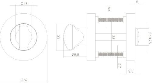 Intersteel Rosette mit Toiletten-/Badezimmerverriegelung rund Chrom/Nickel matt - Vorschau 2