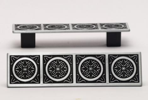 Möbelgriff Schrankgriff Schubladengriff Nickel schwarz poliert mit Muster