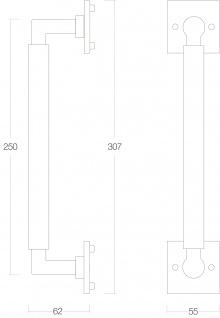 Intersteel Stoßgriff Bau Stil 250 mm Chrom matt - Vorschau 2