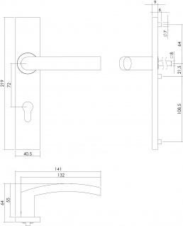 Intersteel Türklinke Block auf rechteckigem Schild mit Profilzylinder-Lochung 72 mm Edelstahl gebürstet - Vorschau 2