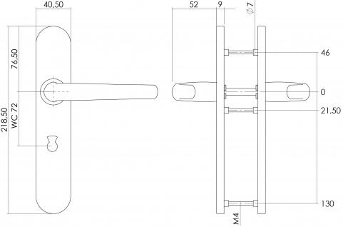 Intersteel Türklinke Säbel auf Schild mit Toiletten-/Badezimmerverriegelung 72 mm Edelstahl gebürstet - Vorschau 2