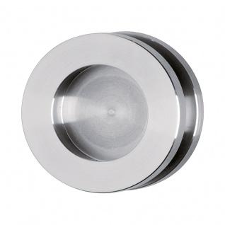 Schiebetürmuschel für Glastüren Edelstahl matt, Ø 60 mm, zum Schrauben - Bohrung im Glas notwendig, für Glasstärke 8 mm