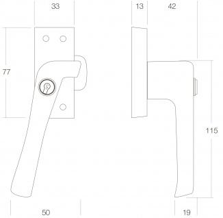 Intersteel Fensterverriegelung abschließbar links Chrom matt - Vorschau 2