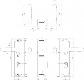 Intersteel Sicherheitsbeschlag SKG3 mit Profilzylinder-Lochung 72 mm und Kernziehschutz Hintertürbeschlag Dock Ton Edelstahl gebürstet - Vorschau 2