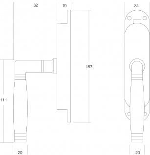 Intersteel Fenster-Stangenschloss Ton 222 rechts Nickel/Ebenholz - Vorschau 2