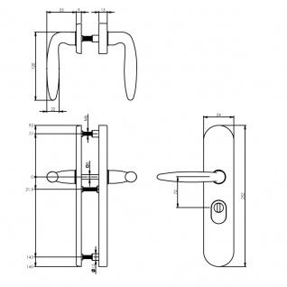 Intersteel Sicherheitsbeschlag SKG3 mit Profilzylinder-Lochung 72 mm Messing Titan PVD Hintertürbeschlag mit Kernziehschutz - Vorschau 2