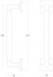 Intersteel Stoßgriff Bau Stil 307 mm Bohrgröße 250 mm Messing lackiert - Vorschau 2