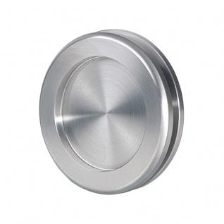 Schiebetürmuschel für Glastüren Edelstahl matt, Ø 60 mm, zum Kleben - Bohrung im Glas notwendig