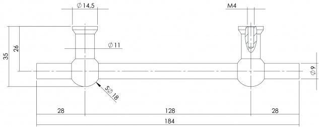 Intersteel Möbelgriff T-Form 184 mm - Bohrmaß 128 mm gebürsteter Edelstahl - Vorschau 2