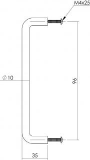 Intersteel Möbelgriff 106 mm Edelstahl gebürstet - Vorschau 2
