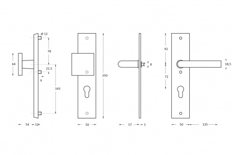 Intersteel Sicherheitsbeschlag SKG3 mit Profilzylinder-Lochung 92 mm Vordertürbeschlag rechteckig Edelstahl gebürstet - Vorschau 2