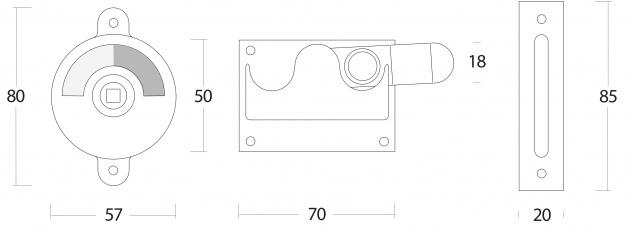 Intersteel WC-Riegel mit Verkröpfung Messing unlackiert - Vorschau 2