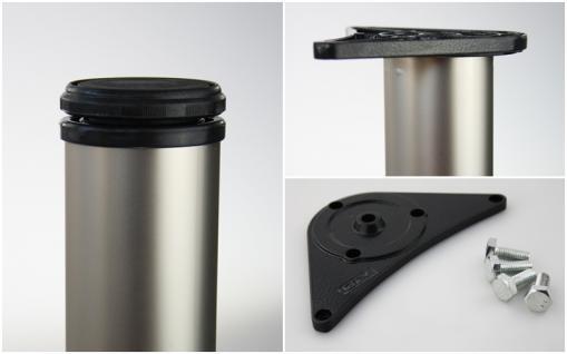 4er Set Tischbeine Möbelfüße Tischstempel matt vernickelt ø 60mm Höhe 1100mm