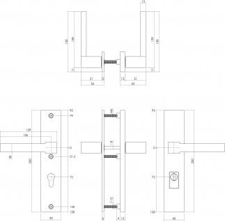 Intersteel Sicherheitsbeschlag SKG3 mit Profilzylinder-Lochung 72 mm und Kernziehschutz Hintertürbeschlag Sliced no. 5 Edelstahl gebürstet - Vorschau 2